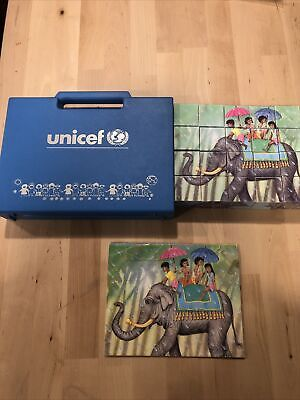 $ CDN18.90 • Buy VINTAGE Unicef PUZZLE CUBES Art Toy Blocks W/ Case , 5 Pictures Of World Places