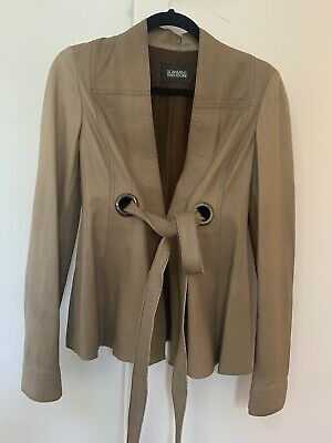 AU250 • Buy SCANLAN & THEODORE Brown Leather Tie Jacket Size 8 Worn Few Times Immaculate