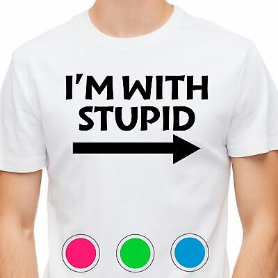 Mens T-Shirt I'm With Stupid Slogan Rude Novelty Gift Cotton • 9.95£