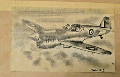 £19.98 • Buy Small 20th C  Graphite Drawing Spitfire. Signed. Possibly Gerald Coulson