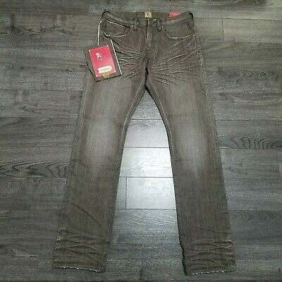 PRPS Demon Slim Fit Button Fly Distressed Selvedge Denim Jeans Mens 32x34 Brown • 107.25£
