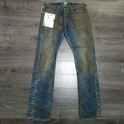 PRPS Demon Slim Fit Button Fly Distressed Denim Jeans Mens 32x35 Mechanic Blue • 107.25£