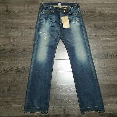 PRPS Barracuda Button Fly Distressed Denim Jeans Mens 32x35 Blue Made In Japan • 107.30£