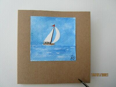 £2.75 • Buy Hand Painted Greetings Card Sail Boat Birthday Get Well Anniversary