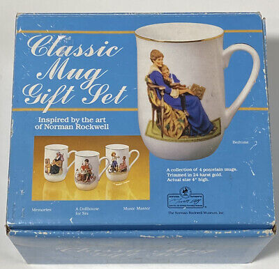 $ CDN30.44 • Buy Collector's Mug Set By Norman Rockwell Trimmed In 24 Karat Gold