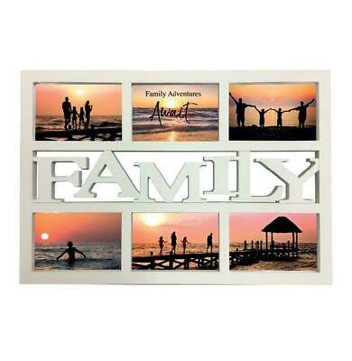£11.99 • Buy White 4  X 6  Family  Design Multi Photo Picture Frame Holds 6 Photos Wall Mount