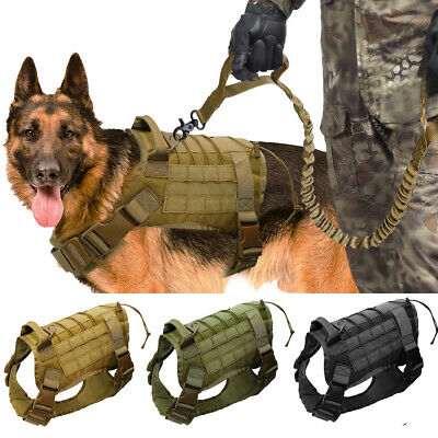 AU37.99 • Buy Military Dog Harness And Lead Set Tactical Molle Training Vest For Rottweiler K9