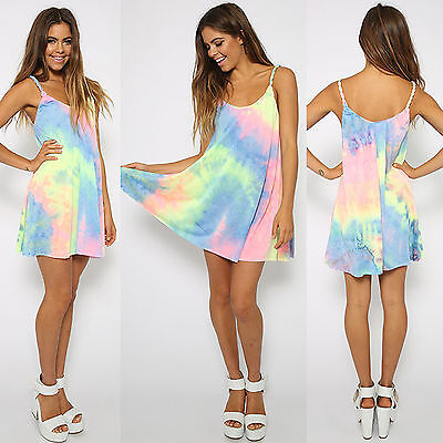 AU13.29 • Buy Womens Sleeveless Strappy Tie Dye Summer Holiday Party Mini Sun Dress Size 6-16