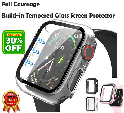 AU7.86 • Buy For Apple Watch 6 SE 5 4 3 2 Full PC Built-In Tempered Glass Screen Protector