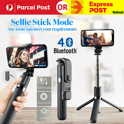 AU23.31 • Buy 4 IN1 Remote Bluetooth Extendable Selfie Stick Tripod Stand With LED Fill Light