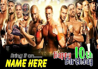 WWE AMERICAN WRESTLERS  | Personalised Name And Age Birthday Poster TP270 • 7.49£