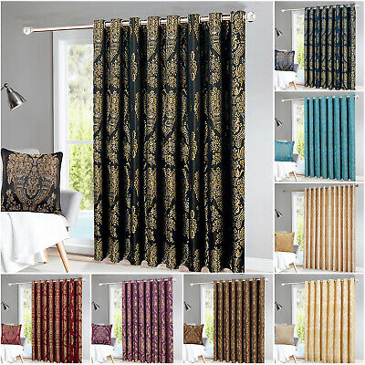 Thermal Door Curtain 66 X 84 Eyelet Ring Top Fully Lined Curtains With Tieback • 23.99£