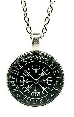 Viking Compass Pendent The Way Finder Nordic Stave Runic Rune Norse 20  Necklace • 3.89£