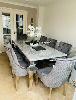 £1254.57 • Buy Louis Grey Marble 200CM Dining Table + Grey Lion Knocker Velvet Dining Chairs