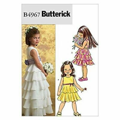 £9.95 • Buy Butterick Sewing Pattern 4967 Girls Bridesmaid Dress Tiered Flounced 2-5 & 6-8