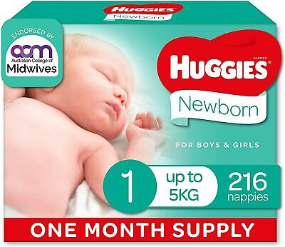 AU69.80 • Buy Huggies Ultimate Nappies, Unisex, Size 1 Newborn (Up To 5kg) 216 Count, One-Mont
