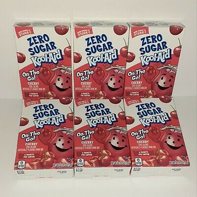 Kool-Aid Zero Sugar CHERRY On The Go Single Drink Mix Lot Of 6 Boxes 36 Packets  • 20.38£