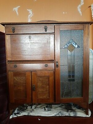 AU320 • Buy Antique Vintage Leadlight/Desk Bookcase Display Cabinet