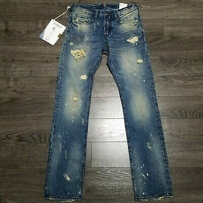 PRPS Demon Slim Fit Mid Rise Button Fly Distressed Denim Jeans Mens 32x34 Blue • 107.25£