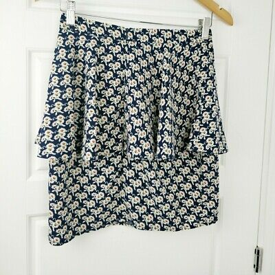 £9.99 • Buy Topshop Navy Yellow Mix Floral Daisy Tiered Peplum Short Skirt 8 BLOGGERS FAVE