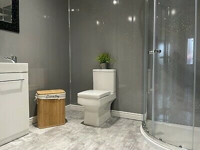 £29 • Buy Grey Sparkle 8mm PVC Bathroom Wall Panels Ceiling Cladding Shower Wet Wall Panel