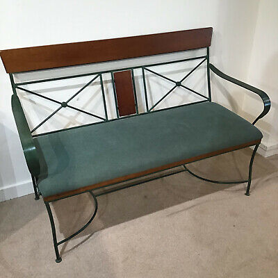 Bench Sofa Seat Green Metal Wood Upholstered Hall Kitchen Dining Conservatory  • 169.95£
