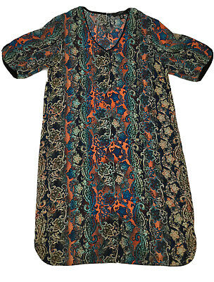 AU48 • Buy Verge Dress Womens M Multi Colored Short Sleeve Designed Paisley Print NZ New