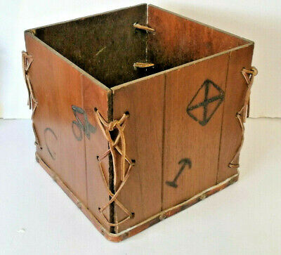 £35 • Buy E** Unusual  Arts & Crafts Wooden Box With Leather Straps And Markings