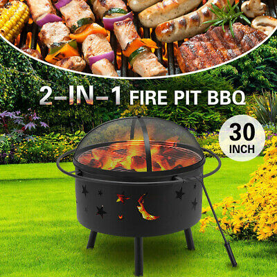AU109.95 • Buy MOBI 30inch 2-in-1 Fire Pit BBQ Grill Outdoor Fireplace Brazier Camping Heater