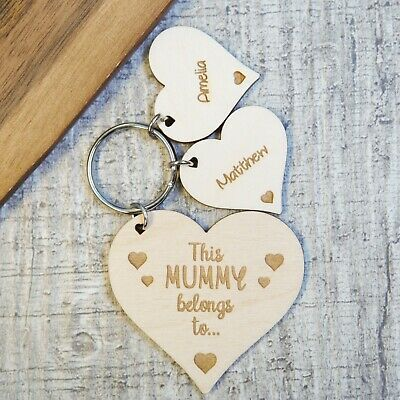 £4.49 • Buy Mothers Day Personalised Keyring Wooden Birthday Gift Present Mum Grandparents