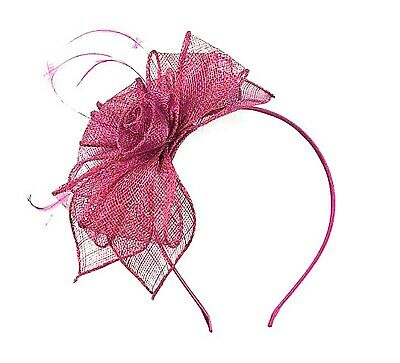 Ladies Raspberry Feather Fascinator Aliceband Hat Ladies Day Races Ascot Wedding • 7.99£