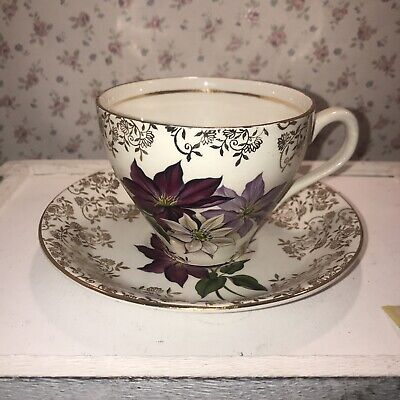 £4.75 • Buy BARRATTS Delphatic Pink Purple & Gold Floral China Cup & Saucer Duo Tea For One