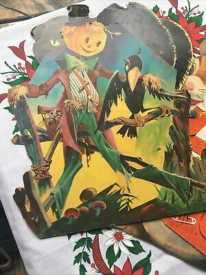 $ CDN31.64 • Buy Vtg Lot-4-Dennison Halloween Die Cut Decorations-as Is-Raven Scarecrow Black Cat