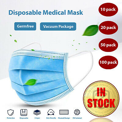 AU18.95 • Buy 10/50/100 Disposable Daily Protective Face Mask Anti Bacterial Filter 3 Layer