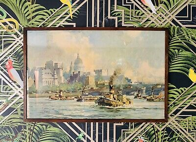 £85 • Buy 1 Of 2 Leslie A Wilcox Signed Watercolour Print  Tugs On Thames  Circa 1940's