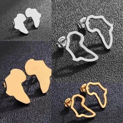 African Map Ethnic Exaggerated Fashion Stud Earrings - Gold & Silver • 2.99£