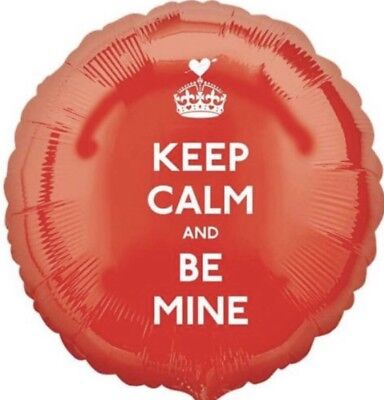 """18"""" Amscan Keep Calm And Be Mine Red Foil Helium Balloon • 1.38£"""