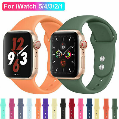 AU6.13 • Buy Silicone Band Strap For Apple Watch Series 1/2/3/4/5/6/SE Sports 38/40/42/44mm