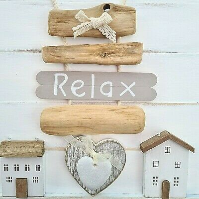 £8.99 • Buy Shabby Driftwood Chic Wooden Nautical Theme Heart Relax Plaque Sign