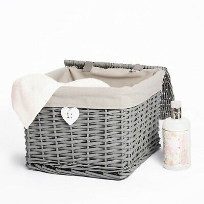 £17.99 • Buy Wickerfield Grey Painted Square Wicker Storage Basket With Lining And Lid