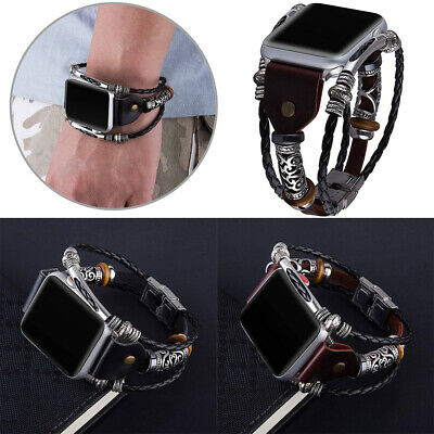 $ CDN12.63 • Buy Metal Bracelet Leather Watch Band For Apple IWatch Series 6/5/4/3 38 40 42 44mm