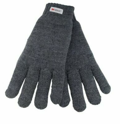 £4.75 • Buy Mens Thinsulate 3M Thermal Gloves Fleece Lined Grey One Size