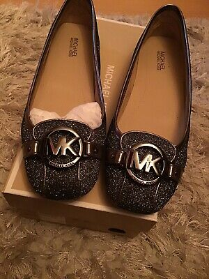 Brand New Michael Kors Flat Ballet Shoes Size 7m Uk 4.5 In Pewter • 39.99£