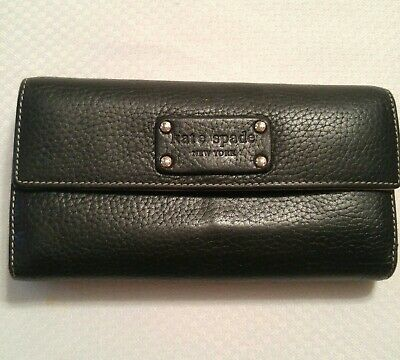 $ CDN54.65 • Buy Kate Spade Black Pebbled Leather Tri-fold Checkbook Wallet With Gold Interior