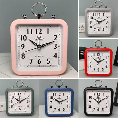 AU16.52 • Buy Retro Alarm Clock Square Bedside Table Snooze Analogue Silent Travel Home Office