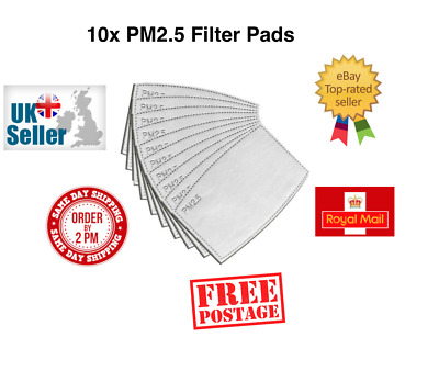 PM2.5 Filter Pads Washable Reusable Cotton Face Masks Activated Carbon X 10 • 3.39£