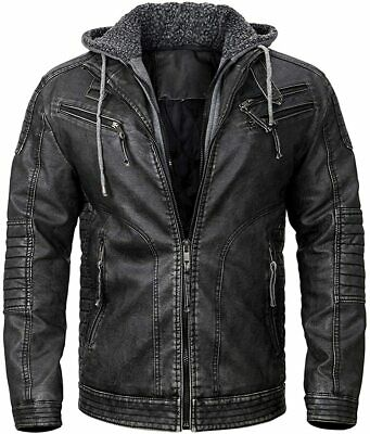 $99.99 • Buy Men's Real Leather Jacket Distressed Motorcycle Biker Jacket With Removable Hood