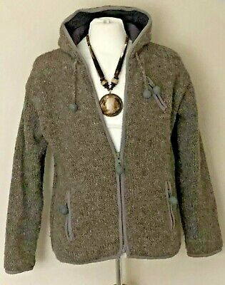 Pachamama Hand Knitted 100% Wool Fleece Lined Cardigan Jacket S / M  10 12 14 16 • 11.50£