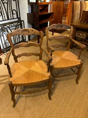 Pair Of French Oak Country Carver Chairs • 295£
