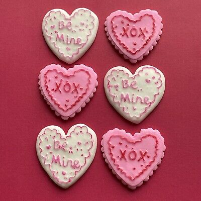 6 Edible PINK & WHITE VALENTINE Hearts Fondant Cupcake Toppers,wedding, • 4.25£